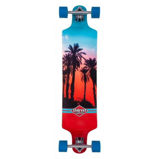 D Street Drop Down Hawaiian Longboard - Blue/Red