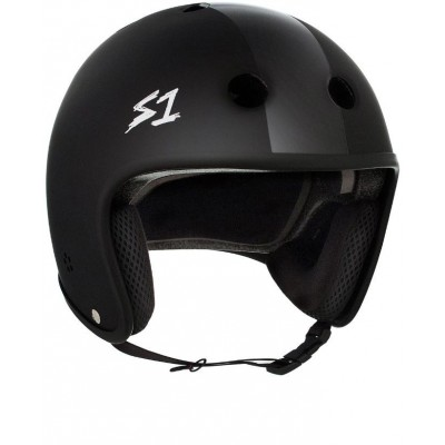 S1 Multi Impact Retro Lifer Helmet - Matte Black with Black Stripes
