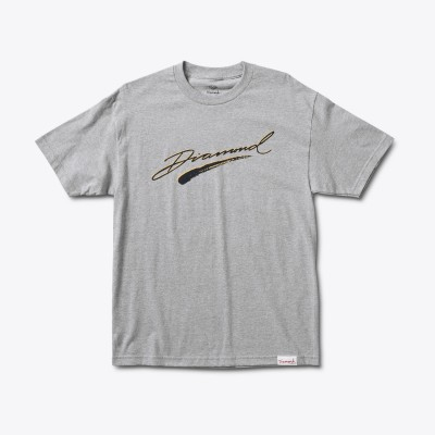 Diamond Brush Script Tee - Heather Grey