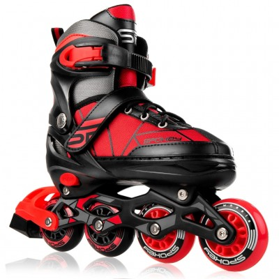 Spokey Keres Adjustable Inline Skates - Black/Red