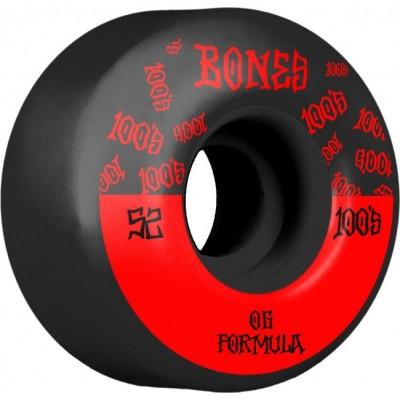 Bones 100's V4 Wide Skateboard Wheels -  Black (Pack of 4)