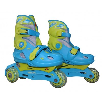 Axer Adjustable 3 in 1 Tri to Inline Skates - Neon