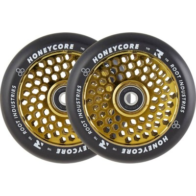 Root Honeycore Black Pro Scooter Wheels 110mm (Pair) gold