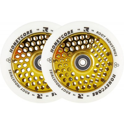 Root Honeycore White Pro Scooter Wheels 110mm (Pair) - Gold