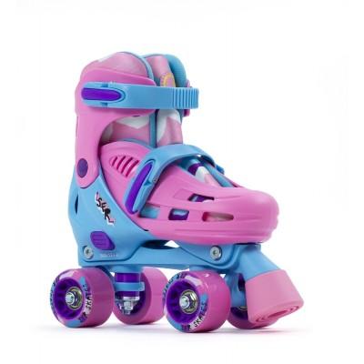 SFR Hurricane III Adjustable Quad Roller Skates - Pink/Blue