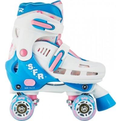 SFR Storm III Adjustable Kids Quad Skates- White/ Pink
