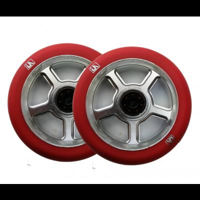 UrbanArtt S5 Scooter Wheels 110mm (Pair) - Red/Chrome