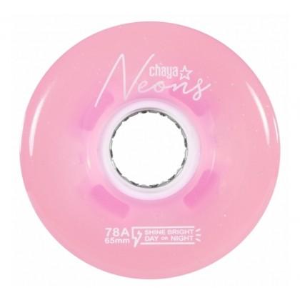 Chaya Neon LED Pink Roller Skate Wheels (Pack of 4)