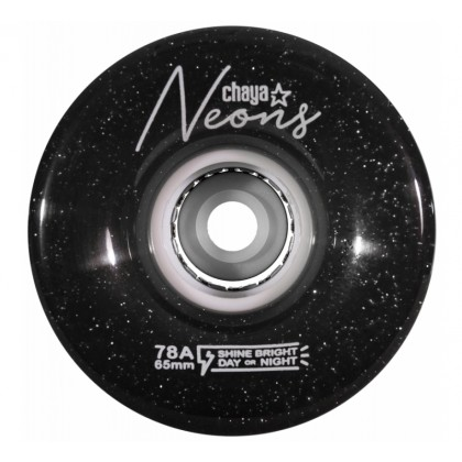 Chaya Neon LED Black Skate Wheels - 4-Pack