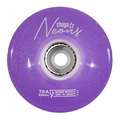 Chaya Neon LED Purple Roller Skate Wheels (Pack of 4)